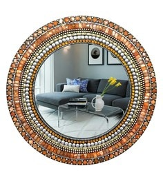 Multicolour Glass And MDF Round Mosaic Mirror - 1618974