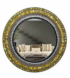 Multicolour Glass And MDF Round Mosaic Mirror - 1618975
