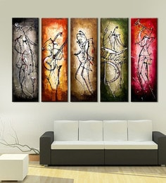 Multicolour Hand Painted Modern Abstract Figure Oil Painting Dancing Girl Dancer Canvas