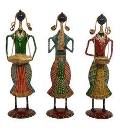 Multicolour Iron & Wood Black Lady Musician - Set Of 3