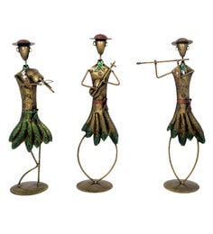 Multicolour Iron Cap Standing Musician - Set Of 3
