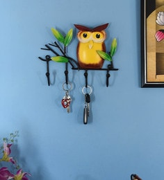 Multicolour Iron Owl Modern Key Holder