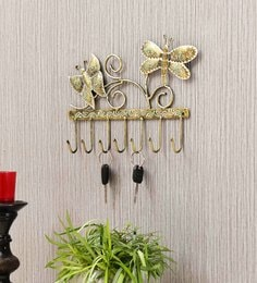 Multicolour Iron Painted  2 Butterfly Wall Hanger (7 Hook)