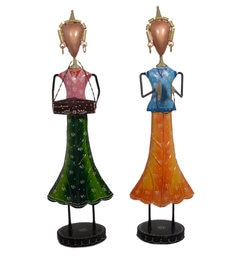 Multicolour Iron Topi Lady Musician Set Of 2