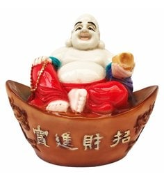 Multicolour Marble Marble Made Laughing Buddha Sitting In Basket Showpiece - Fengshui