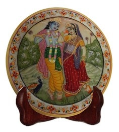 Multicolour Marble Radha & Krishna Showpiece Plate With Stand