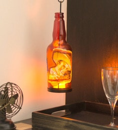 Multicolour Metal & Glass Bottle John Wine Tea Light Holder