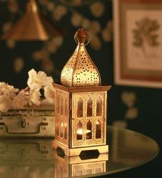 Multicolour Metal Arabian Design  Square  Wall Hanging Lantern Tea Light Holder