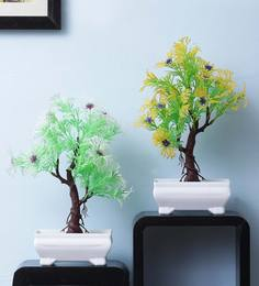 Multicolour Plastic Artificial Plant With Yellow And Green Leaves