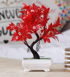 Multicolour Plastic Artificial Plant Y Shaped With Red Leaves And Small White Flowers