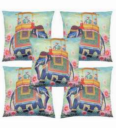 Multicolour Polyester 16x16 Inch Cushion Covers - Set Of 5