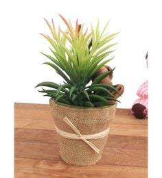 Multicolour Synthetic Rubber & Jute Bag With Jackseed Fruit  Artificial Plant With Pot