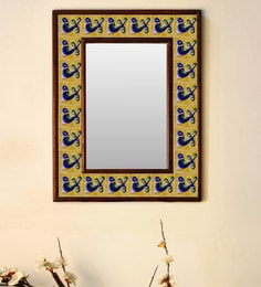 Multicolour Wood & Ceramic Mirror By Neerja Blue Pottery - 1658807