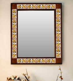 Multicolour Wood & Ceramic Mirror By Neerja Blue Pottery - 1658820
