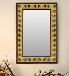 Multicolour Wood & Ceramic Mirror By Neerja Blue Pottery - 1658813
