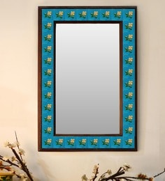 Multicolour Wood & Ceramic Mirror By Neerja Blue Pottery - 1658810