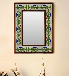 Multicolour Wood & Ceramic Mirror By Neerja Blue Pottery - 1658805