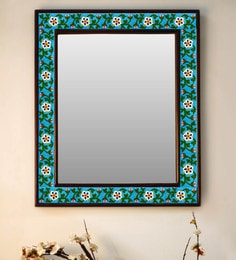 Multicolour Wood & Ceramic Mirror By Neerja Blue Pottery - 1658824