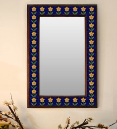 Multicolour Wood & Ceramic Mirror By Neerja Blue Pottery - 1658815