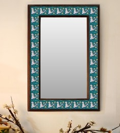 Multicolour Wood & Ceramic Mirror By Neerja Blue Pottery - 1658809