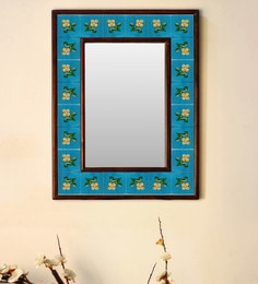 Multicolour Wood & Ceramic Mirror By Neerja Blue Pottery - 1658797
