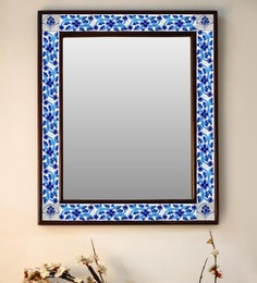 Multicolour Wood & Ceramic Mirror By Neerja Blue Pottery - 1658818
