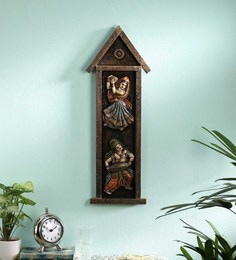 Multicolour Wood And Metal  Wall Hanging Idol - 1711337