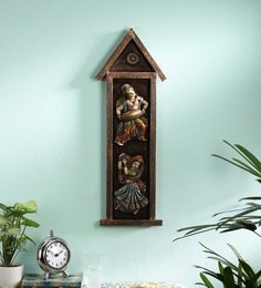 Multicolour Wood And Metal  Wall Hanging Idol - 1711336