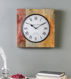 Multicolour Wood Wall Clock