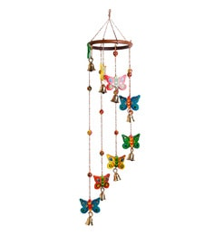 Multicolour Wooden Handmade & Hand-Painted Spinning Butterflies Decorative Hanging Bell