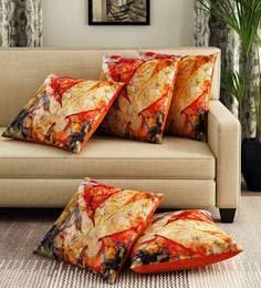 Multicoloured Velvet Digital Print Set Of 5 Cushion Covers - 1707432