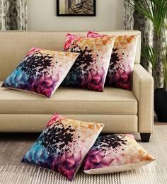 Multicoloured Velvet Digital Print Set Of 5 Cushion Covers - 1707438