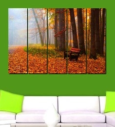 999Store Forest Bench Multicolour Sun Board Sturdy Wall Art Set Of 5 at pepperfry