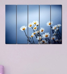 999Store White Flowers Multicolour Sun Board Sturdy Wall Art Set Of 5 at pepperfry