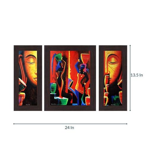 Buy Multicolour Guatam Buddha Mdf Wall Art Set Of 3 Framed Wall Art
