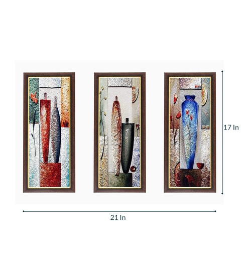 Buy Multicolour Modern Art Set Of 3 Framed Wall Art Painting By Wens