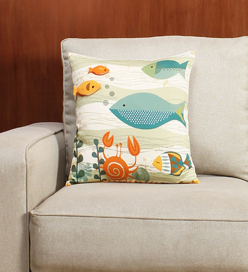 Multicolour 100% Cotton Satin Cushion Cover by House This
