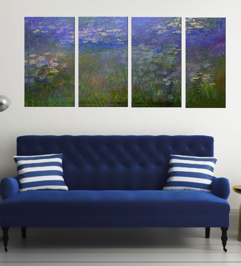 Multicolour 16 x 0.5 x 24 Inch Canvas Claude Monet - Water Lily Art Panels-Set of 4 by Tallenge