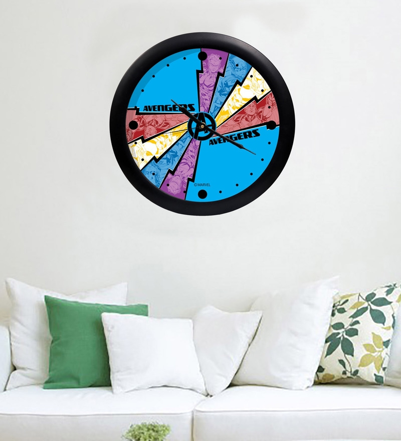 Multicolour Acrylic & Glass 10 x 2 x 10 Inch Marvel Avengers Digital Printed Wall Clock by Orka
