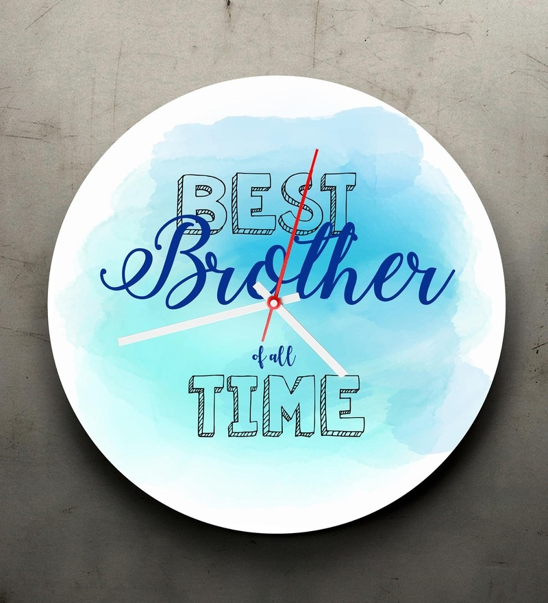 Multicolour Acrylic 9.5 x 1.5 x 9.5 Inch Rakhi Best Brother of All Time Clock by 10am