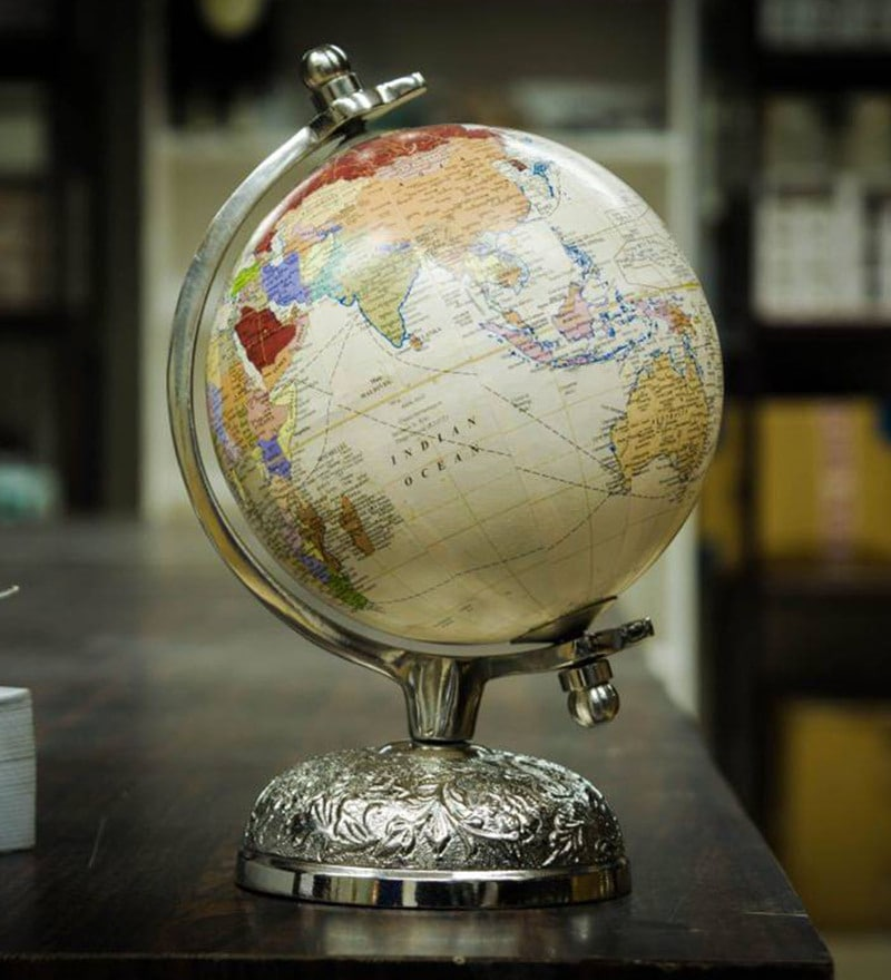 Multicolour Acrylic And Metal Victorian Elegant And Stunning World Globe With Silver Globe By Casa Decor