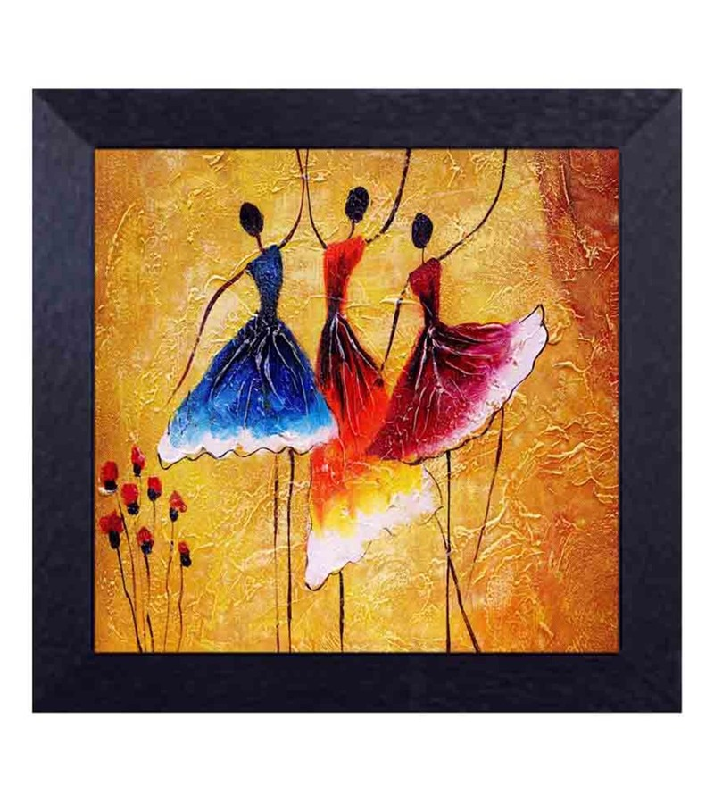 Multicolour Canvas Cloth Dancing Lady with Floral Backdrop Digital Art Print by Decor Design