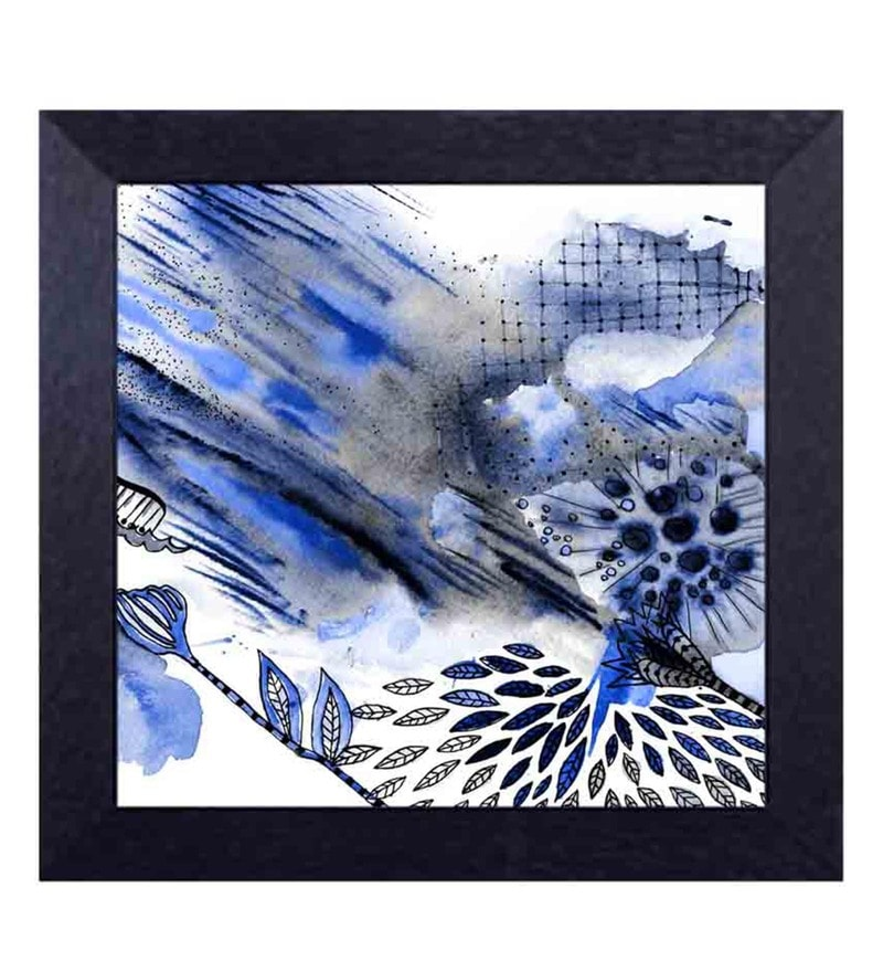 Multicolour Canvas Cloth Floral Blue Digital Art Print by Decor Design