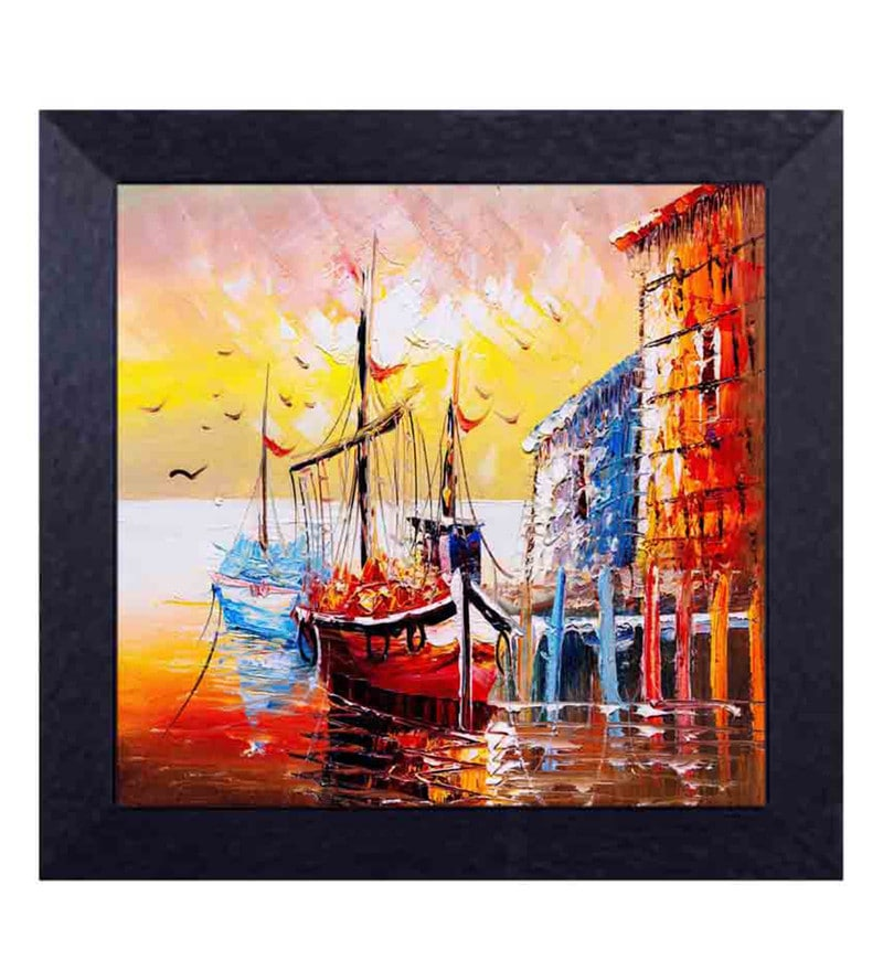 Multicolour Canvas Cloth Ship in The Sea with Scenic Beauty Digital Art Print by Decor Design