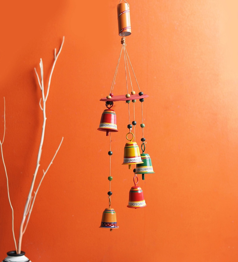 Multicolour Coated Iron Five Bells Windchime by VarEesha