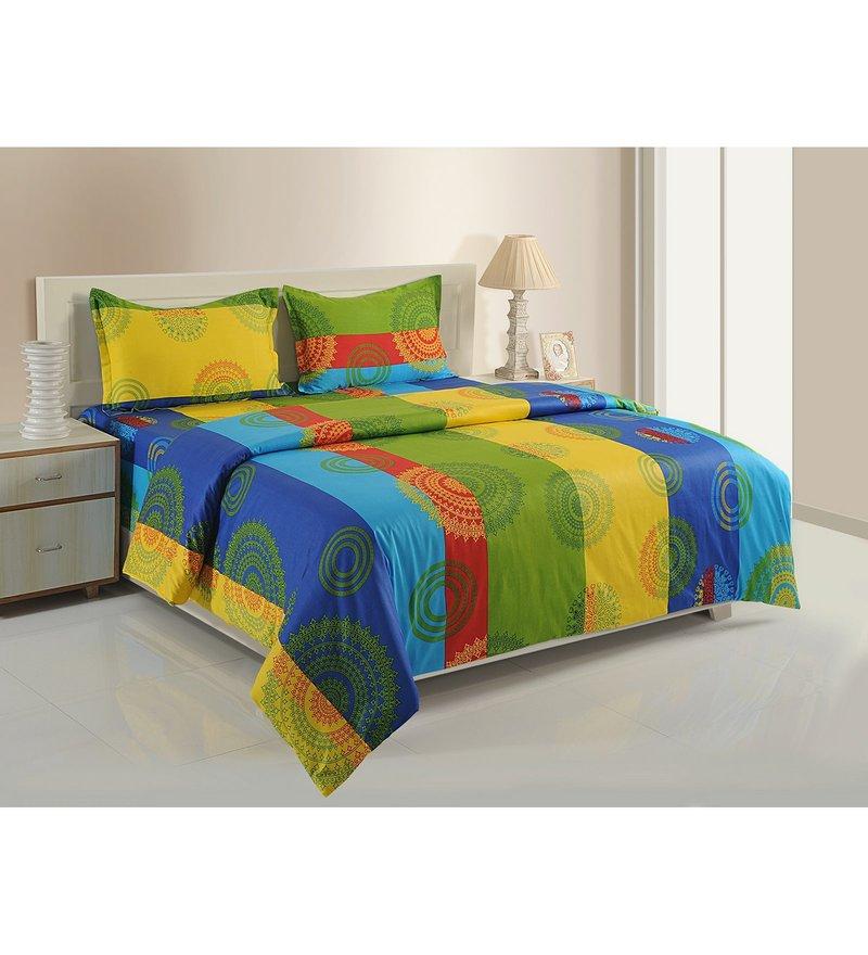 Multicolour Cotton King Size Bedding Set - Set of 4 by Swayam