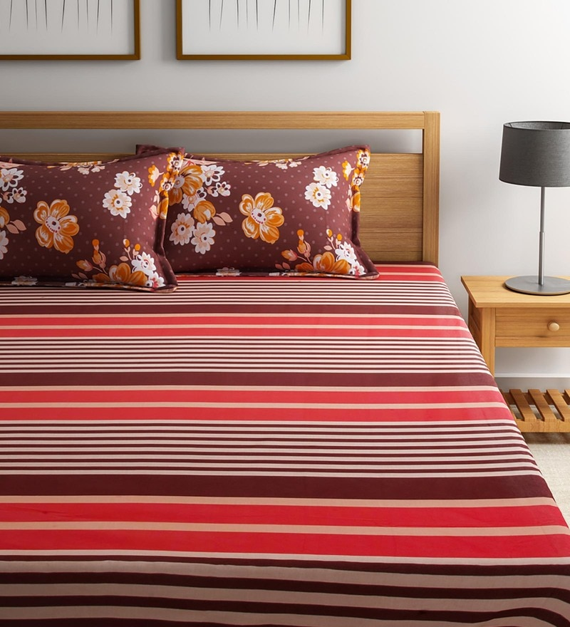 Multicolour Cotton Queen Size Vienna Bedsheet - Set of 3 by Portico New York