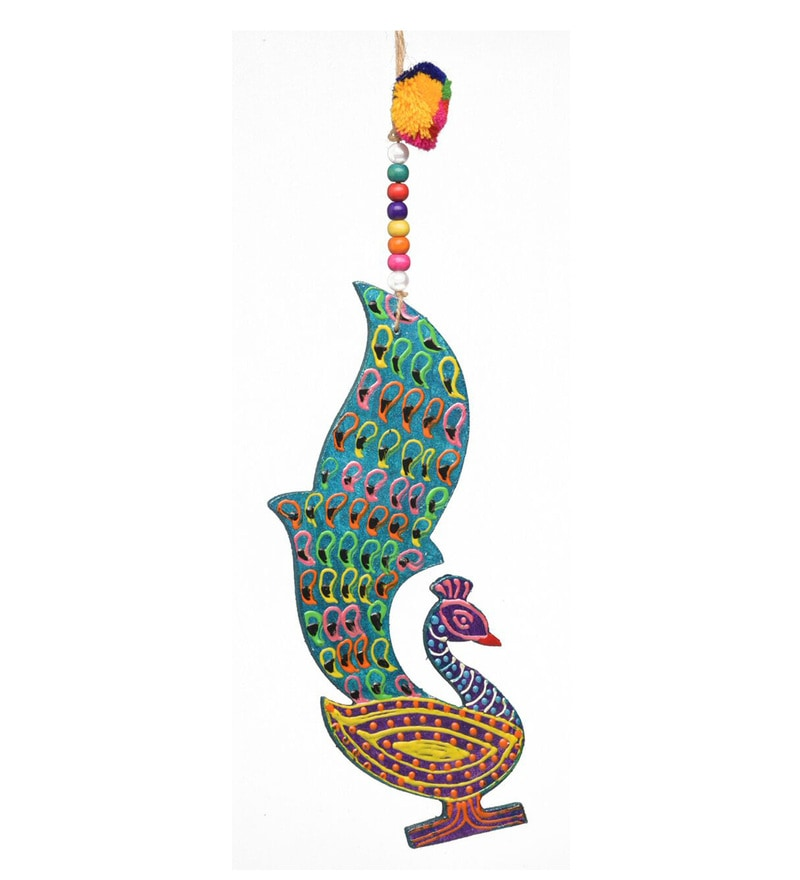 Multicolour Fibre Hand Made & Painted Peacock Wall Hanging by Rooh