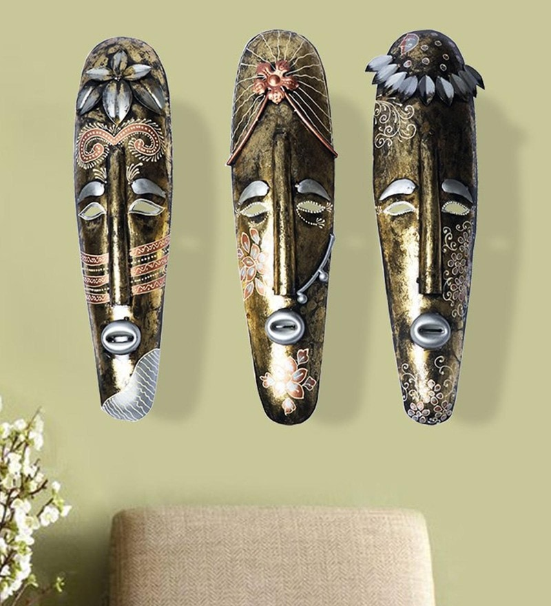 Multicolour Iron Tribal Mural Masks by CraftedIndia - Set of 3