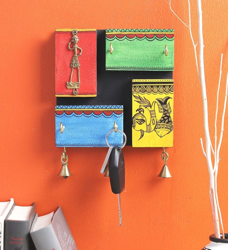 Multicolour Mango Wood Warli Key Holder by VarEesha